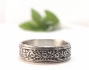 Womens Wedding Band, Mens Wedding Ring, Floral Wedding Band, White Gold Women's Wedding Ring, Men's Wedding Band, Petunia Wide Wedding Band
