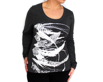SALE M,L -Charcoal Gray Long Sleeve fitted Tee with Feathers Screen Print