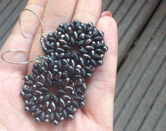 Beaded Earring Mandala, Mandala Earrings, Round Mandalas, Circle Earrings, Bohemian Jewelry, Spiritual Jewelry, Black Earrings