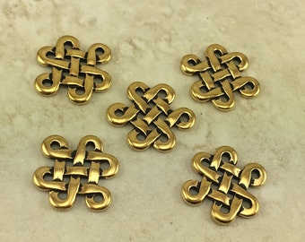 5 Large TierraCast Celtic Open Knot Eternity Link Charms > Irish St Patrick's 22kt Gold Plated Lead Free Pewter I ship internationally 3005