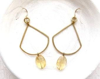 Boho Earrings / Citrine Earrings / Hammered Earrings / Gold Earrings / Modern Earrings / Gemstone Earrings / Statement Earrings / Handmade