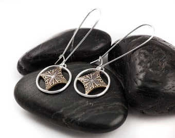 Diamond Spoke Mixed Metal Earrings. Patterned. Textured Accessories. Dangle Earrings. Sterling Silver. Brass. Gifts for Her.