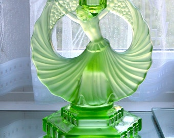 1930s Art Deco Uranium Glass by Walther and Sohne Dancing Lady Candlestick Centrepiece Comport or Tazza Base Green Pressed Glass Rare Find