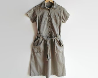 Cargo Shirt Dress with Pockets, Vintage Womens Clothes, A Line Skirt, Khaki, 90s Clothes, Shirtdress, Size 8, Spring Summer Mid Length Skirt
