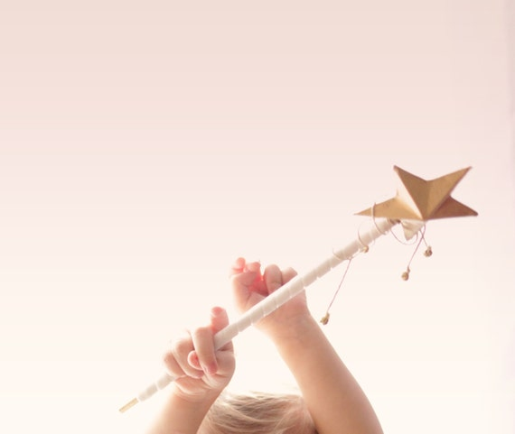 Flower girl wand, Gold star, Fairy princess wand, Golden star wand with bells, Unique flower girl, Gift for flower girl, princess party