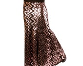 Skirt, YOUR SIZE, Mermaid, Black & Copper SEQUINS, Stretchy, Tribal, Fusion Bellydance, Dark Bridal, Cabaret, Goth, Cocktail, Boutique