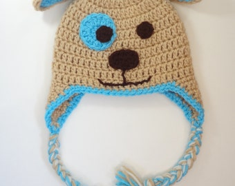 Dog Hat Puppy Hat 3-6 Month Ready To Ship Crochet Gift for Kids Animal Hat Earflaps