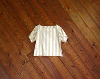 Taupe Boxy Vertical Stripe Summer Top - Vintage 80s - XS/S