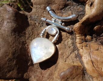 Moonstone Pendant ~ Rainbow Moonstone, Blue Moonstone, Handmade, Natural Stone, Sterling Silver, Statement Piece, Large Necklace, Moonstone
