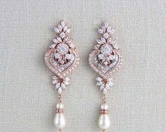 Rose Gold Bridal earrings, Bridal jewelry, Rose Gold Chandelier earrings, Rose Gold Crystal earrings, Wedding earrings, Pearl earrings, EMMA