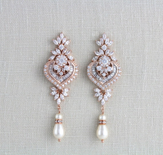 rose gold bridal earrings bridal jewelry rose gold. Black Bedroom Furniture Sets. Home Design Ideas