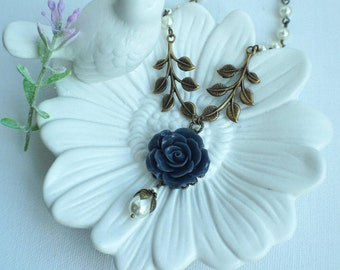 Navy Blue Flower Necklace, Navy and Ivory Pearls Necklace, Navy Wedding, Dark Blue Flowers, Bridesmaids Gifts, Flower and Leaves Necklace