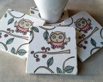 Owl Lover Gift - Woodland Tile Coasters - Mother's Day Gift - Opal the Owl Design - Absorbent Stone Drink Holders