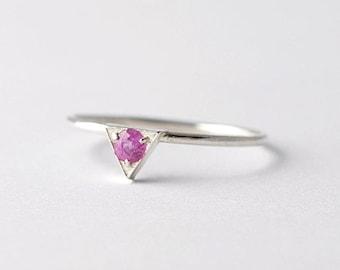Genuine Pink Sapphire Ring: Triangular, Unique Promise Rings