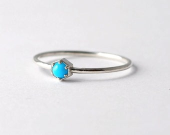 Hexagon Turquoise Ring: Sterling Silver, Geometric