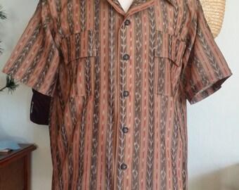 Men's Weldon's 1940's Indian IKAT Shirt chest XL,44-46, European Cut
