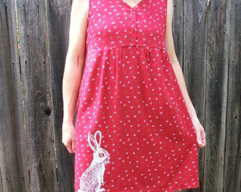 Cottontail rabbit springtime prairie maternity dress - size medium