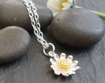 Sterling silver /gold Daisy necklace , solid silver daisy chain , daisy flower on chain necklace , nature jewelry , daisy chain
