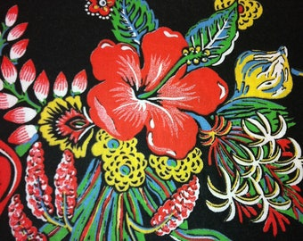 70s Brilliant Hibiscus & Ginger Neon Print//Primal Multi Colors on Black Ground//Cotton Blend