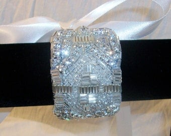 Wedding Rhinestone Beaded Bridal Cuff Bracelet, Bridal Jewelry Accessories, Crystal and Ribbon