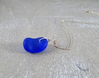 Cobalt blue sea glass on sterling silver chain