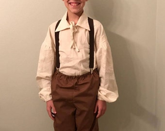Boys Colonial Pioneer Civil War Boy's Colonial Costume Size 2T to 14