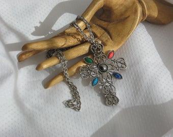 Signed Romanesque Cross Necklace Vintage 70s Avon Jewelry