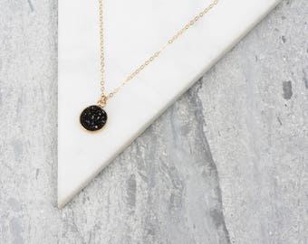 Tiny Black Crystal Necklace, Round Crystal Pendant, Black and Gold Stone Necklace, Charm Necklace, Druzy Agate Necklace, Short Black Jewelry
