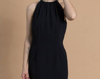 Vintage 90s Black Close Neck Dress / Sleeveless Wiggle Dress / Small 4
