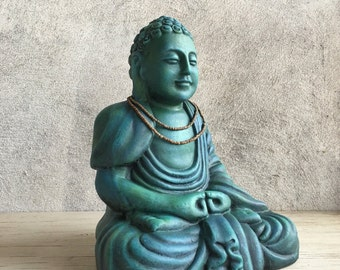 Vintage painted terra cotta Sitting Buddha statue with old necklace, Zen altar, gift for Buddhist, Zen garden Buddha meditating, Feng Shui