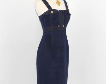GIANNI VERSACE VERSUS Vintage Denim Metallic Lion Button Strapless Dress