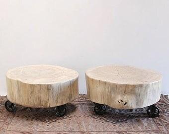 Nesting Coffee Table Scandinavian Organic Stump Pair Vintage Casters