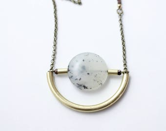 CIVAL Collective - Beth   Necklace   Brass Circle Necklace   Geometric Round Necklace   Mod 60s Green Stone Pendant   Crescent Moon Necklace