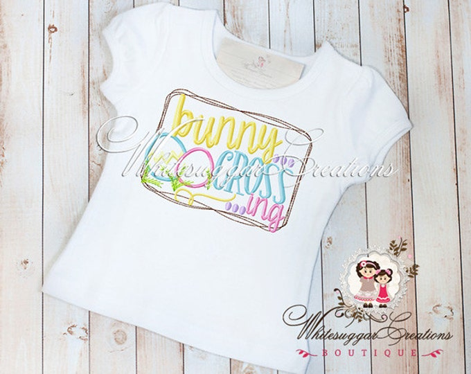 Girls Easter Bunny Shirt - Bunny Crossing Shirt - Baby Girl Easter Outfit - Sample Sale