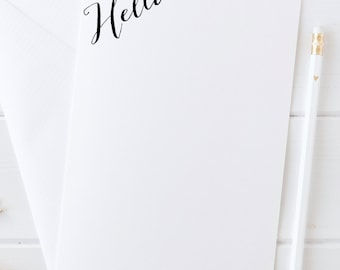 Pretty Stationery, Notecards, Hello Note Cards, Gift for Her, Stationery Gift, Hello Flat Cards