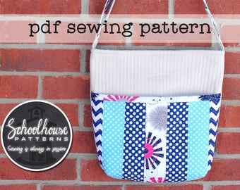 Quilted Shoulder Bag - PDF sewing pattern - A quilt as you go purse with patchwork - INSTANT DOWNLOAD