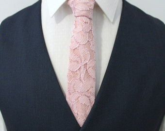 Dark Blush Lace Overlay Neck Tie