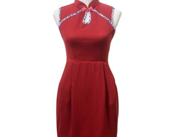 Maroon Qipao, Red Qipao, Qipao Dress, Cheongsam Dress, Maroon Cheongsam, 1960s Dress, Oriental Dress, Wrinkle Free Dress, Chinese Dress