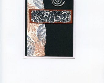 Handmade note card with dimensional spiral embellishment, leaf motif in black brown silver white, blank inside, mixed media collage