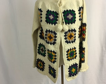 Vintage Afghan Sweater with Ball Ties