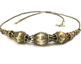 "Antique Sri Lanka Necklace, Sri Lankan 22ct Silver Gilt Beads Necklace, Filigree. Ceylon, Sinhalese, Heringbone Chain, 58cm (23 1/2""), 46Gms"
