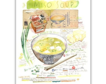 Japanese food print, Watercolor Miso soup recipe poster, Dashi stock, Soup artwork, Asian wall art, Japanese kitchen decor, Japan lover gift