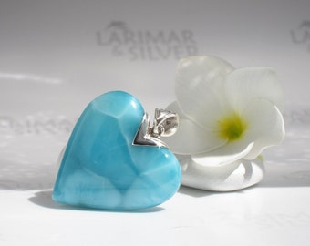 AAA Larimar heart pendant by Larimarandsilver, Love in the Caribbean - turquoise Larimar heart stone, turtleback, handmade Larimar pendant