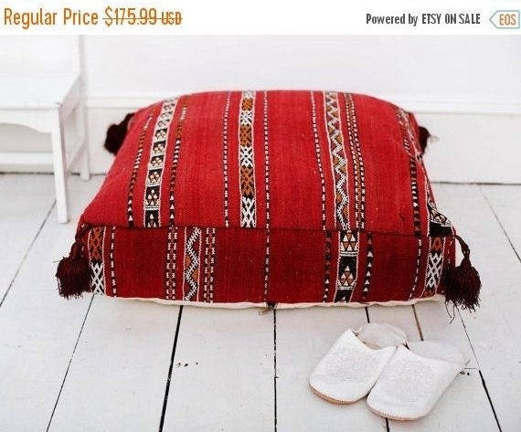 SPRING 30% OFF SALE /// 23''x23'' x 7'' Tribal Vintage Moroccan pouf, Red Berber pouffe, Floor cushion, Moroccan pouf, Floor pouf, Square Po