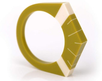 Luxor Bangle in Lime Green and Ivory White
