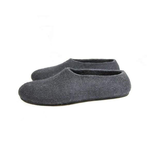 House Wool Shoes, Black Felted Slippers, Womens Wool Slippers, Boiled Wool Shoes, Felted Wool Slippers, Clogs for Women, Rubber Soles, Gifts