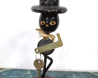 Vintage Black Americana Folk Art Key Holder, RARE, Man in Top Hat, Emergency Key, Magnet, Wood & Metal
