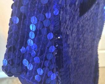 vintage sequin blue party dress 80s M-L
