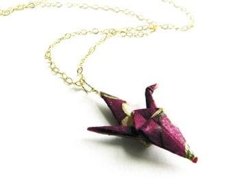 Origami Crane Necklace  Dark Purple - Gold Filled chain