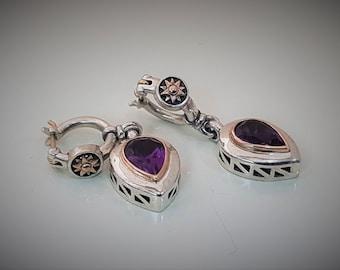 DANGLE EARRINGS Silver/ drop purple earrings/ amethyst  silver earrings/february amethyst  birthstone / handmade earrings/ birthday gift